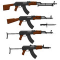 Layered vector illustration of different assault rifles Royalty Free Stock Photo