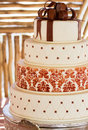 Layered white wedding cake with chocolate detail Stock Photo