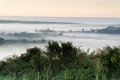Layers of fog over autumn agricultural landscape foogy fields with Stock Images