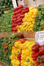 Layers of fresh bell peppers and chiles Royalty Free Stock Photo