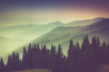 Layers of mountain and haze in the valleys view Stock Photography