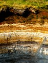Layers sedimentary in geothermal area in iceland Stock Images