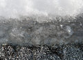 Layers of snow ice and asphalt Stock Photo