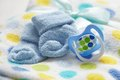 Layette for newborn baby boy see my other works in portfolio Stock Photo