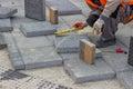 Laying brick pavers Royalty Free Stock Photo