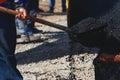 Laying fresh asphalt