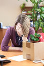 Layoff at work, woman employee upset Stock Photo