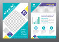 Layout flyer template size A4 cover page diamond square blue purple yellow tone Vector design Royalty Free Stock Photo
