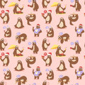 Laziness sloth animal character different pose seamless pattern vector Royalty Free Stock Photo