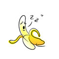 Lazy banana cartoon vector illustration of sleeping drawn with doodle style Royalty Free Stock Photography