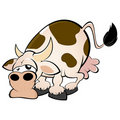 Lazy cartoon cow Stock Photos