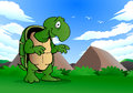 Lazy turtle illustration of a green on nature background Royalty Free Stock Image