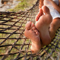 Lazy vacations relax in hammock Stock Images