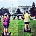 Lazy white house fat people segway riding Stock Image