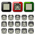 Lcd display pixel faces illustration for the web Stock Photos
