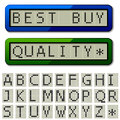 Lcd display pixel font uppercase characters illustration for the web Royalty Free Stock Photo