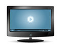 Lcd monitor blue video player Stock Photo