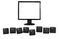 LCD monitor and Computer keyboard letters isolated Royalty Free Stock Photo