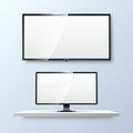Lcd monitor and empty white flat TV screen. Vector Royalty Free Stock Photo