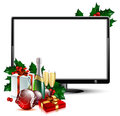 LCD panel with christmas Royalty Free Stock Images