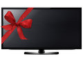 Lcd tv screen black hanging on a wall with red ribbon with clipping work path Stock Images