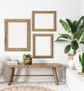 Ld wooden frame mock-up in interior background,Scandi-boho style Royalty Free Stock Photo