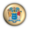 Le bouton rond Etats-Unis indiquent l'indicateur du New Jersey Image stock