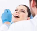 Le dentiste examine des dents du patient Photos stock