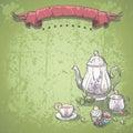 Le fond d image avec le service de thé avec les feuilles de thé et le fruit durcit Image stock