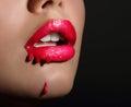 Le labbra rosse della donna di art sensual smeared di scintille Fotografie Stock