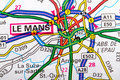 Le mans the city of in detail on the map Royalty Free Stock Photo