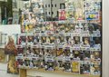 stock image of  LE MANS, FRANCE - OCTOBER 08, 2017: Row of figures of American company Funko Pop in the shop window