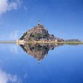 Le mont saint michel an unesco world heritage site in france with reflection Royalty Free Stock Photo