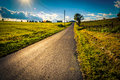 Le soleil plaçant au dessus d une route de campagne près des routes croisées pennsylvan Photos libres de droits