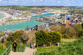 Le tréport france view of the port and the church of from the cliffs in the channel Royalty Free Stock Images