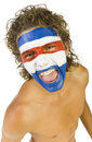 Le ventilateur de sport paraguayen Images stock