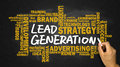 lead generation handwritten on blackboard with related words cloud Royalty Free Stock Photo