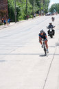 Lead rider at stillwater criterium minnesota usa june woman pro cyclist leads downhill section of course north star grand prix in Stock Image