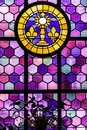 Leaded glass pane in old church medieval france alsace Royalty Free Stock Image