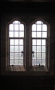 Leaded window detail from medieval castle Royalty Free Stock Images