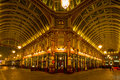 Leadenhall market london march night shot of bankers drinking beer after work in the covered one of the tourist attractions in Royalty Free Stock Image