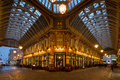 Leadenhall market london march night shot of bankers drinking beer after work in the covered one of the tourist attractions in Royalty Free Stock Photography