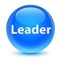Leader glassy cyan blue round button