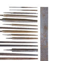 Leader group of vintage keysmith metal files Royalty Free Stock Photo