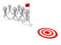 Leader running flag others following ready to reach target white background leadership concept Royalty Free Stock Images