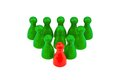 Leader in a team chef and entrepreneur red green pawns manager Stock Photography