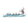 Leader teamwork business concept boat rowers Royalty Free Stock Photo