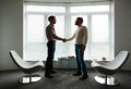 Leaders handshaking successful business greeting one another against window in office Stock Photo
