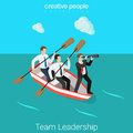Leadership in business team HR leader flat 3d vector isometric