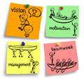 stock image of  Leadership concept on a colorful notes